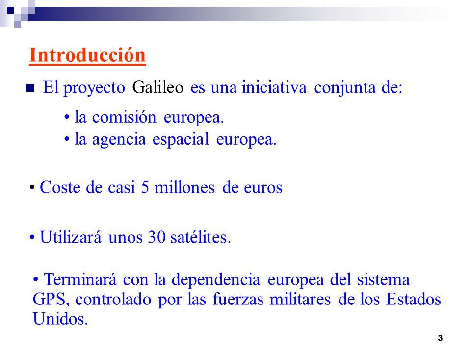 3 Introducción El proyecto Galileo es una iniciativa conjunta de: la comisión europea. la agencia espacial europea. Coste de casi 5 millones de euros