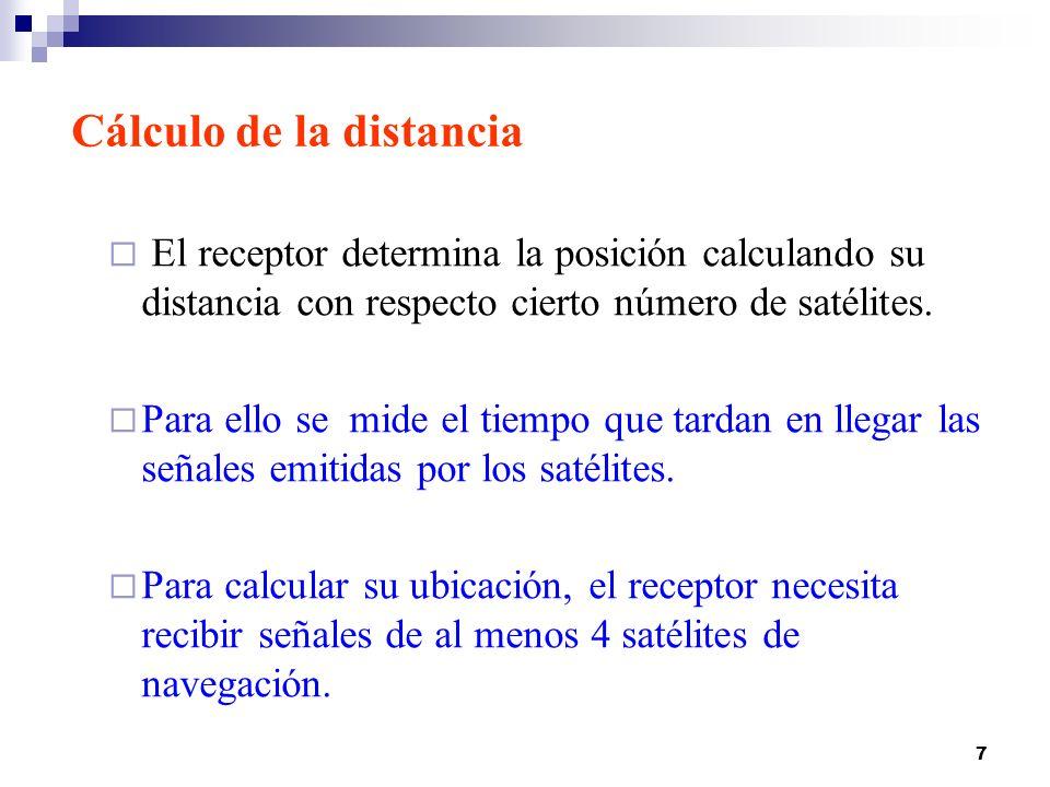 7 El receptor determina la posición calculando su distancia con respecto cierto número de satélites. Para ello se mide el tiempo que tardan en llegar