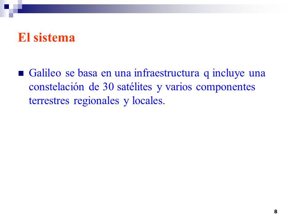 8 El sistema Galileo se basa en una infraestructura q incluye una constelación de 30 satélites y varios componentes terrestres regionales y locales. E
