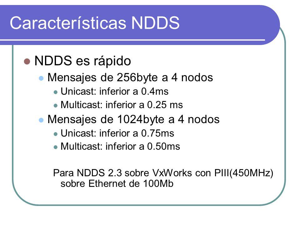 Características NDDS NDDS es rápido Mensajes de 256byte a 4 nodos Unicast: inferior a 0.4ms Multicast: inferior a 0.25 ms Mensajes de 1024byte a 4 nod