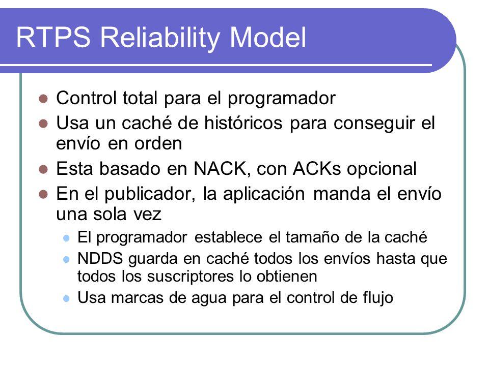 RTPS Reliability Model Control total para el programador Usa un caché de históricos para conseguir el envío en orden Esta basado en NACK, con ACKs opc