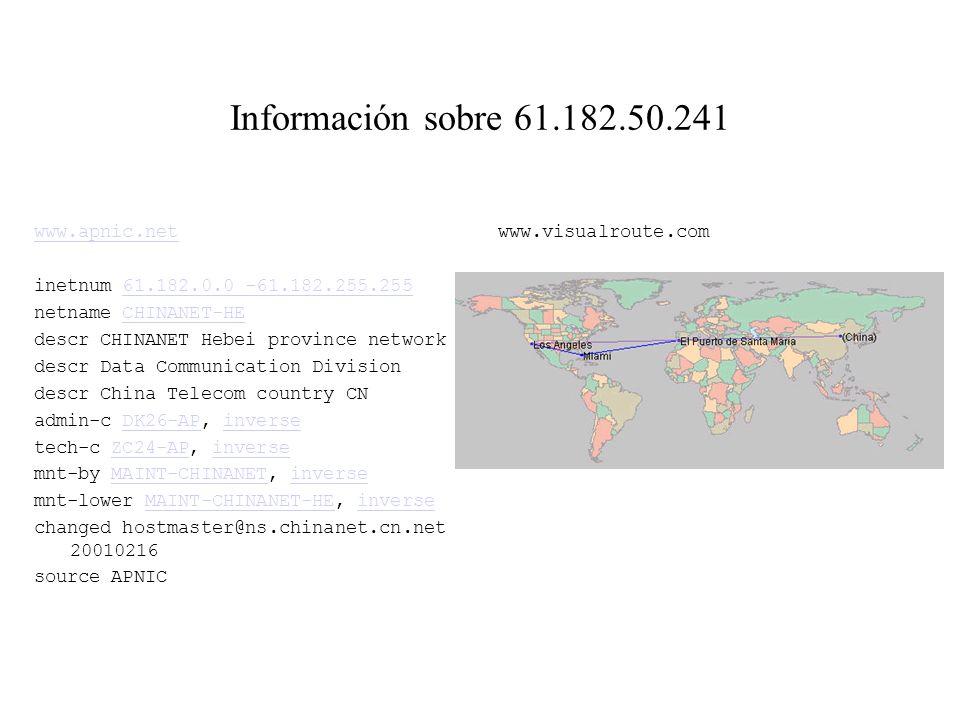 Registros de 61.182.50.241 en la BD 14 1 RPC portmap request rstatd 2001-12-08 08:39:44 61.182.50.241 -> iris.quiorg.uv.es [IP] Ver:4 HLen:5 Tos:0 Len
