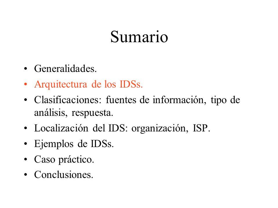Sumario Generalidades.Arquitectura de los IDSs.