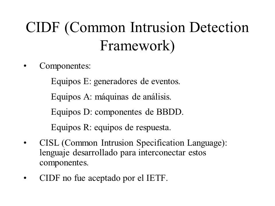 CIDF (Common Intrusion Detection Framework) Componentes: Equipos E: generadores de eventos.