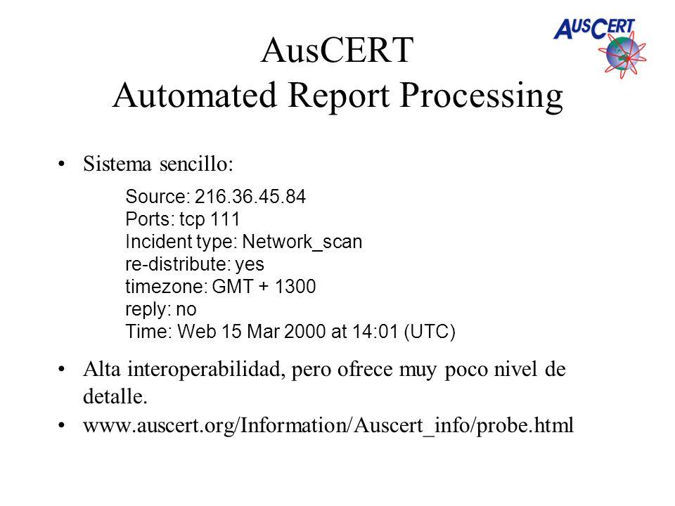 AusCERT Automated Report Processing Sistema sencillo: Source: 216.36.45.84 Ports: tcp 111 Incident type: Network_scan re-distribute: yes timezone: GMT + 1300 reply: no Time: Web 15 Mar 2000 at 14:01 (UTC) Alta interoperabilidad, pero ofrece muy poco nivel de detalle.
