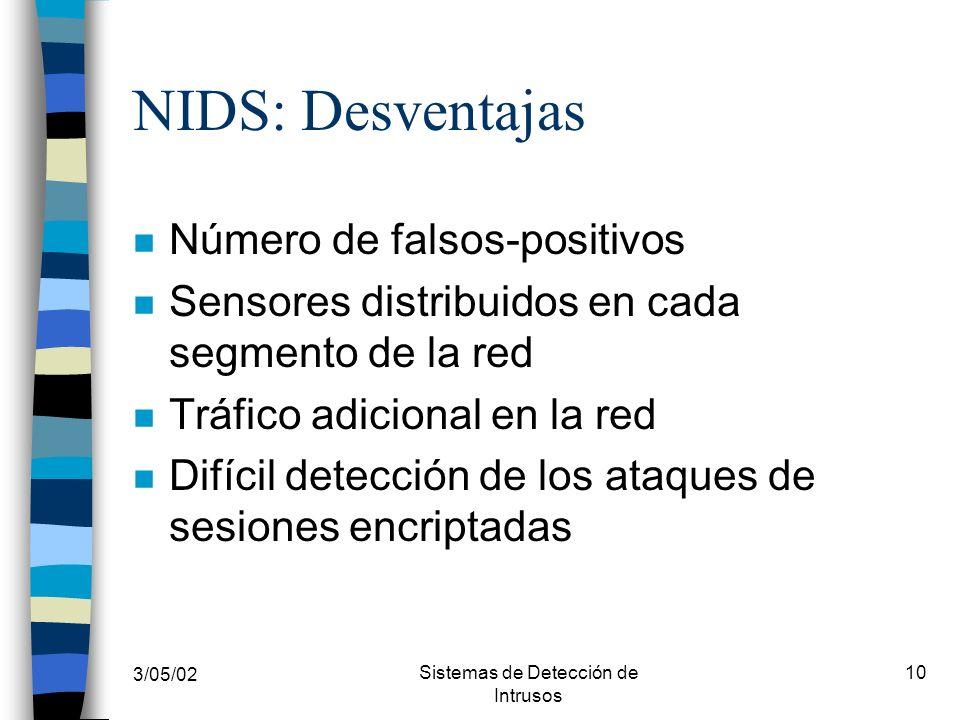 3/05/02 Sistemas de Detección de Intrusos 10 NIDS: Desventajas n Número de falsos-positivos n Sensores distribuidos en cada segmento de la red n Tráfi