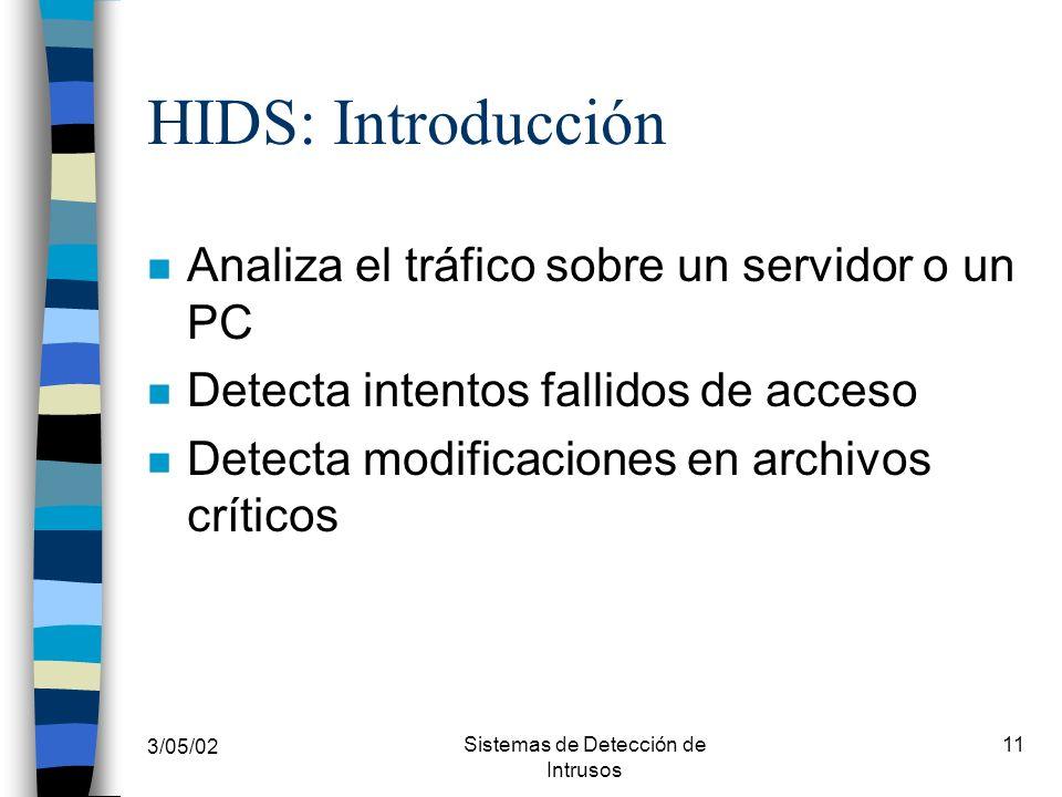 3/05/02 Sistemas de Detección de Intrusos 11 HIDS: Introducción n Analiza el tráfico sobre un servidor o un PC n Detecta intentos fallidos de acceso n