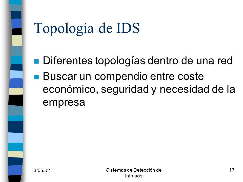 3/05/02 Sistemas de Detección de Intrusos 17 Topología de IDS n Diferentes topologías dentro de una red n Buscar un compendio entre coste económico, s
