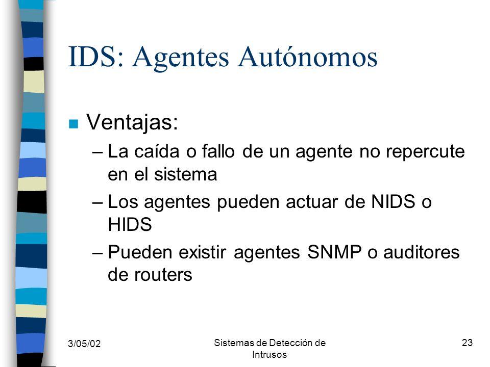3/05/02 Sistemas de Detección de Intrusos 23 IDS: Agentes Autónomos n Ventajas: –La caída o fallo de un agente no repercute en el sistema –Los agentes