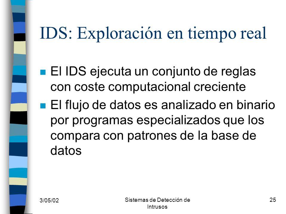3/05/02 Sistemas de Detección de Intrusos 25 IDS: Exploración en tiempo real n El IDS ejecuta un conjunto de reglas con coste computacional creciente