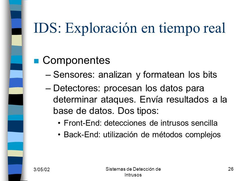 3/05/02 Sistemas de Detección de Intrusos 26 IDS: Exploración en tiempo real n Componentes –Sensores: analizan y formatean los bits –Detectores: proce