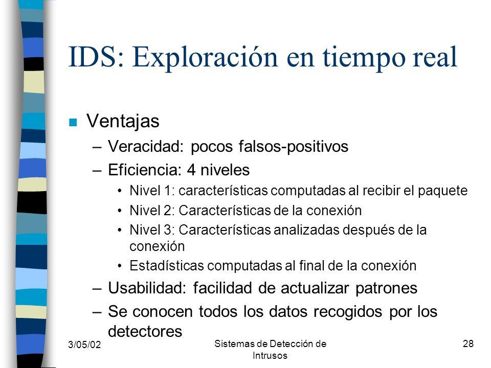 3/05/02 Sistemas de Detección de Intrusos 28 IDS: Exploración en tiempo real n Ventajas –Veracidad: pocos falsos-positivos –Eficiencia: 4 niveles Nive