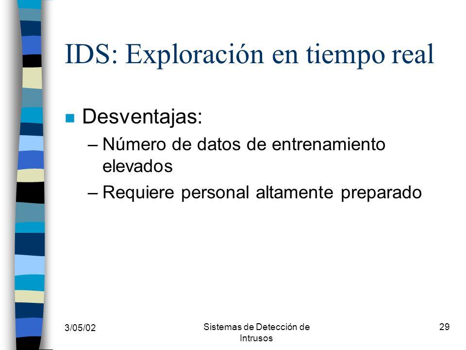 3/05/02 Sistemas de Detección de Intrusos 29 IDS: Exploración en tiempo real n Desventajas: –Número de datos de entrenamiento elevados –Requiere perso