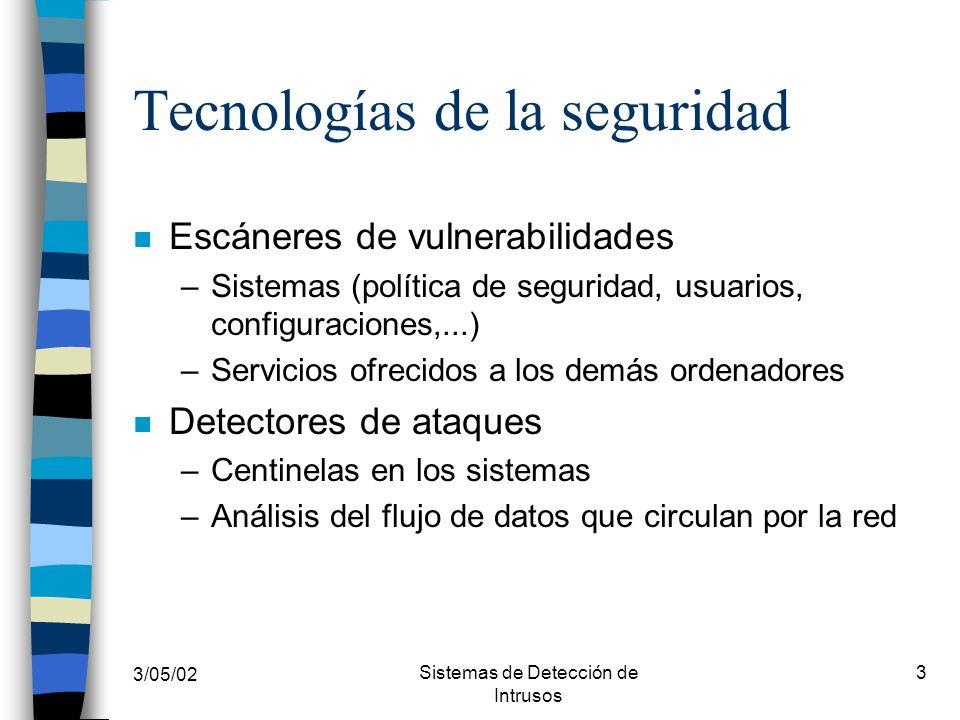 3/05/02 Sistemas de Detección de Intrusos 3 Tecnologías de la seguridad n Escáneres de vulnerabilidades –Sistemas (política de seguridad, usuarios, co