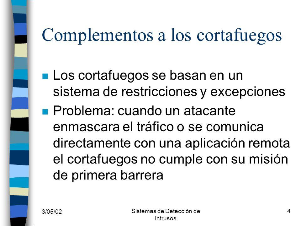 3/05/02 Sistemas de Detección de Intrusos 4 Complementos a los cortafuegos n Los cortafuegos se basan en un sistema de restricciones y excepciones n P