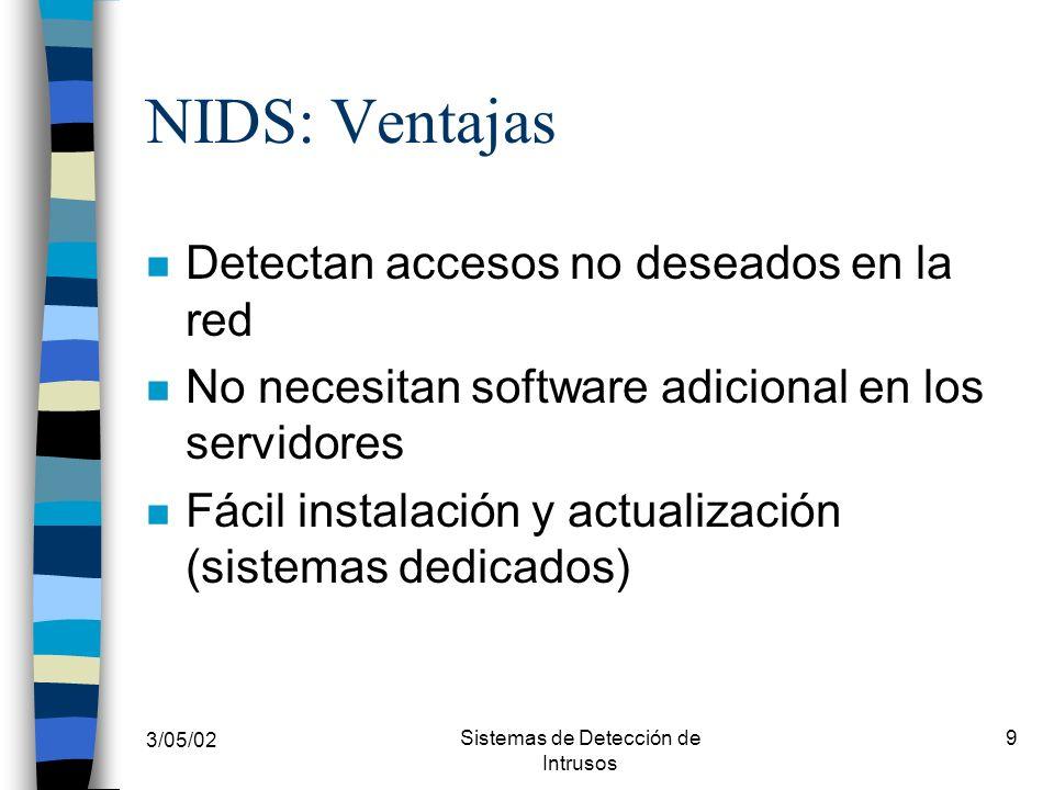 3/05/02 Sistemas de Detección de Intrusos 10 NIDS: Desventajas n Número de falsos-positivos n Sensores distribuidos en cada segmento de la red n Tráfico adicional en la red n Difícil detección de los ataques de sesiones encriptadas