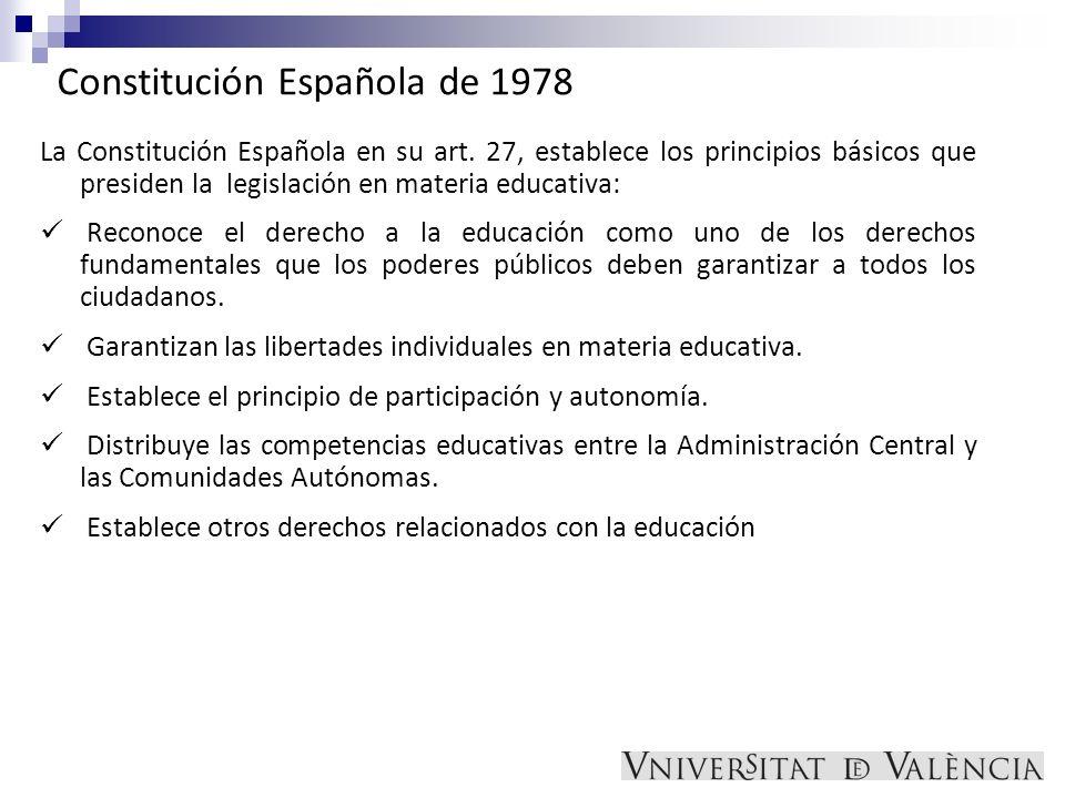 Constitución Española de 1978 La Constitución Española en su art. 27, establece los principios básicos que presiden la legislación en materia educativ