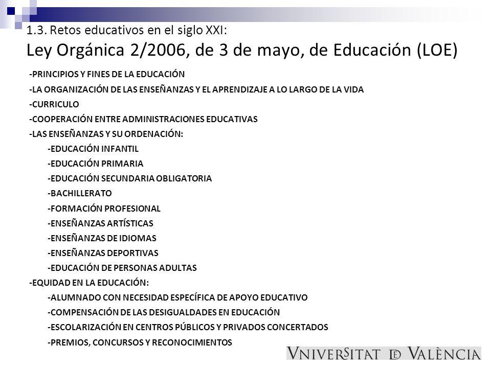 1.3. Retos educativos en el siglo XXI: Ley Orgánica 2/2006, de 3 de mayo, de Educación (LOE) -PRINCIPIOS Y FINES DE LA EDUCACIÓN -LA ORGANIZACIÓN DE L