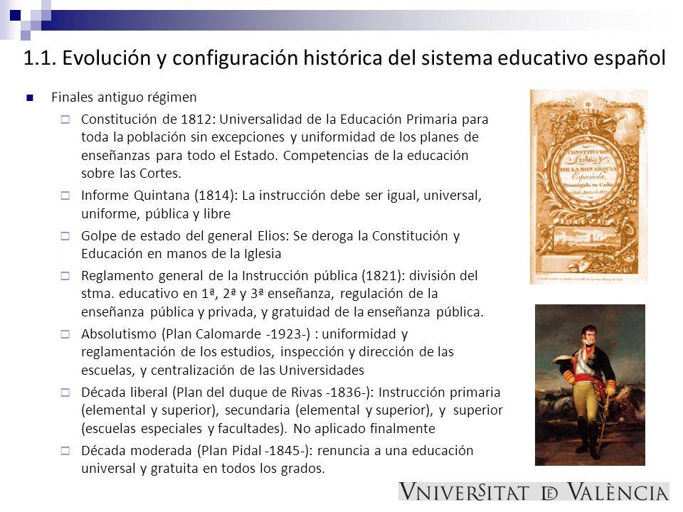 1.1. Evolución y configuración histórica del sistema educativo español Finales antiguo régimen Constitución de 1812: Universalidad de la Educación Pri