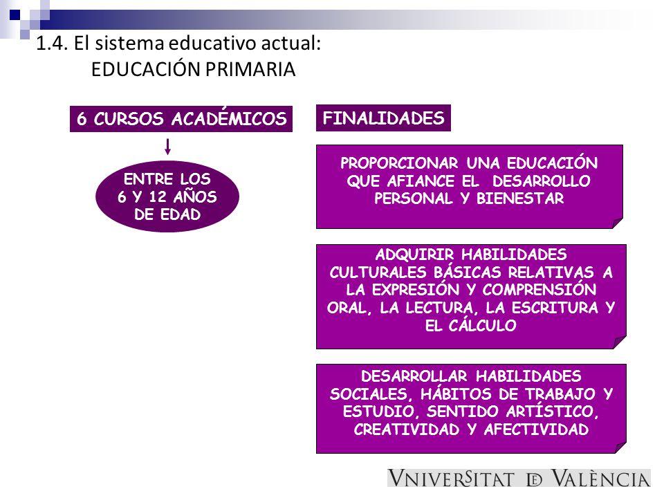 1.4. El sistema educativo actual: EDUCACIÓN PRIMARIA 6 CURSOS ACADÉMICOS ENTRE LOS 6 Y 12 AÑOS DE EDAD FINALIDADES PROPORCIONAR UNA EDUCACIÓN QUE AFIA