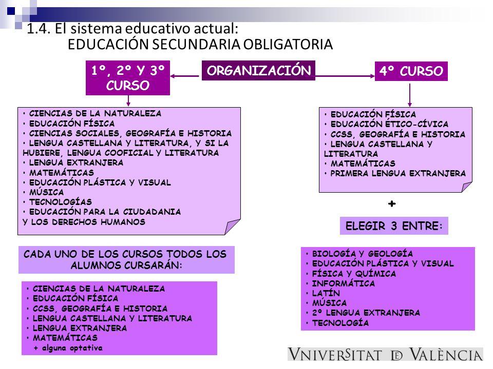 1.4. El sistema educativo actual: EDUCACIÓN SECUNDARIA OBLIGATORIA ORGANIZACIÓN1º, 2º Y 3º CURSO CIENCIAS DE LA NATURALEZA EDUCACIÓN FÍSICA CIENCIAS S