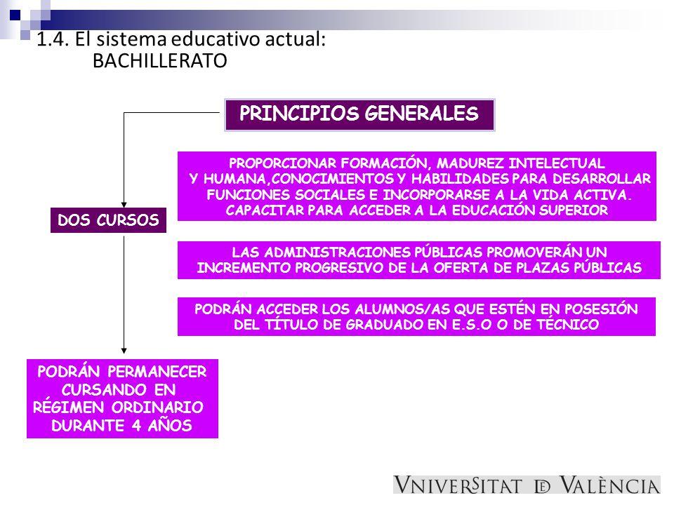 1.4. El sistema educativo actual: BACHILLERATO PRINCIPIOS GENERALES PROPORCIONAR FORMACIÓN, MADUREZ INTELECTUAL Y HUMANA,CONOCIMIENTOS Y HABILIDADES P