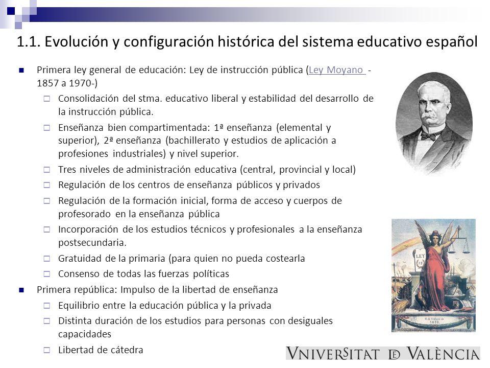 1.1. Evolución y configuración histórica del sistema educativo español Primera ley general de educación: Ley de instrucción pública (Ley Moyano - 1857