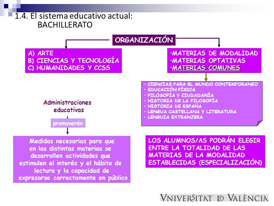 1.4. El sistema educativo actual: BACHILLERATO ORGANIZACIÓN MATERIAS DE MODALIDAD MATERIAS OPTATIVAS MATERIAS COMUNESMATERIAS COMUNES A) ARTE B) CIENC