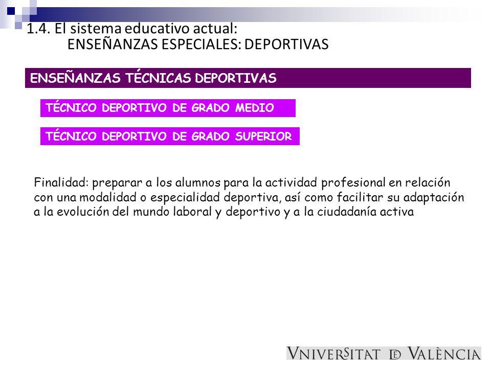 1.4. El sistema educativo actual: ENSEÑANZAS ESPECIALES: DEPORTIVAS ENSEÑANZAS TÉCNICAS DEPORTIVAS TÉCNICO DEPORTIVO DE GRADO MEDIO TÉCNICO DEPORTIVO