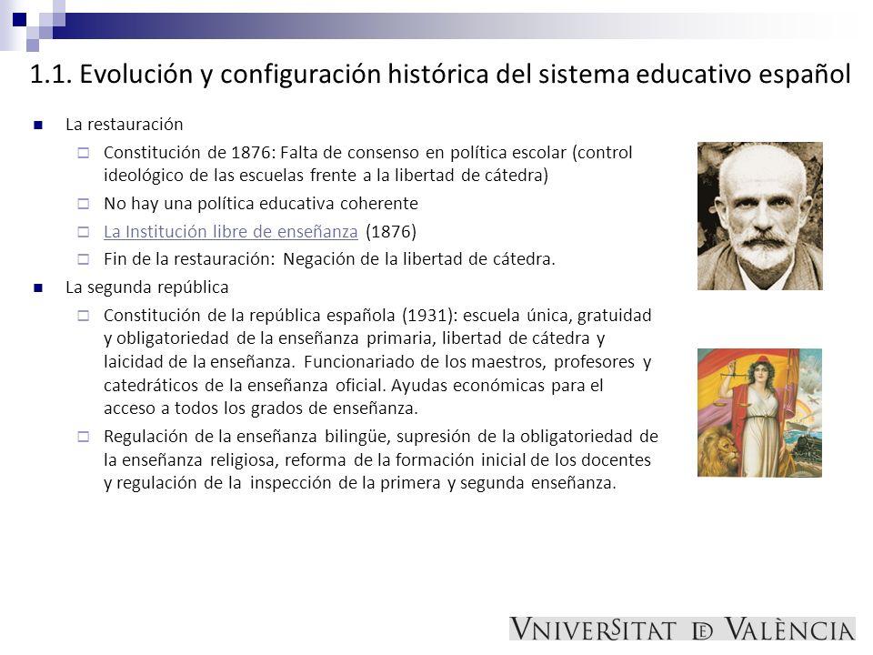 1.1. Evolución y configuración histórica del sistema educativo español La restauración Constitución de 1876: Falta de consenso en política escolar (co