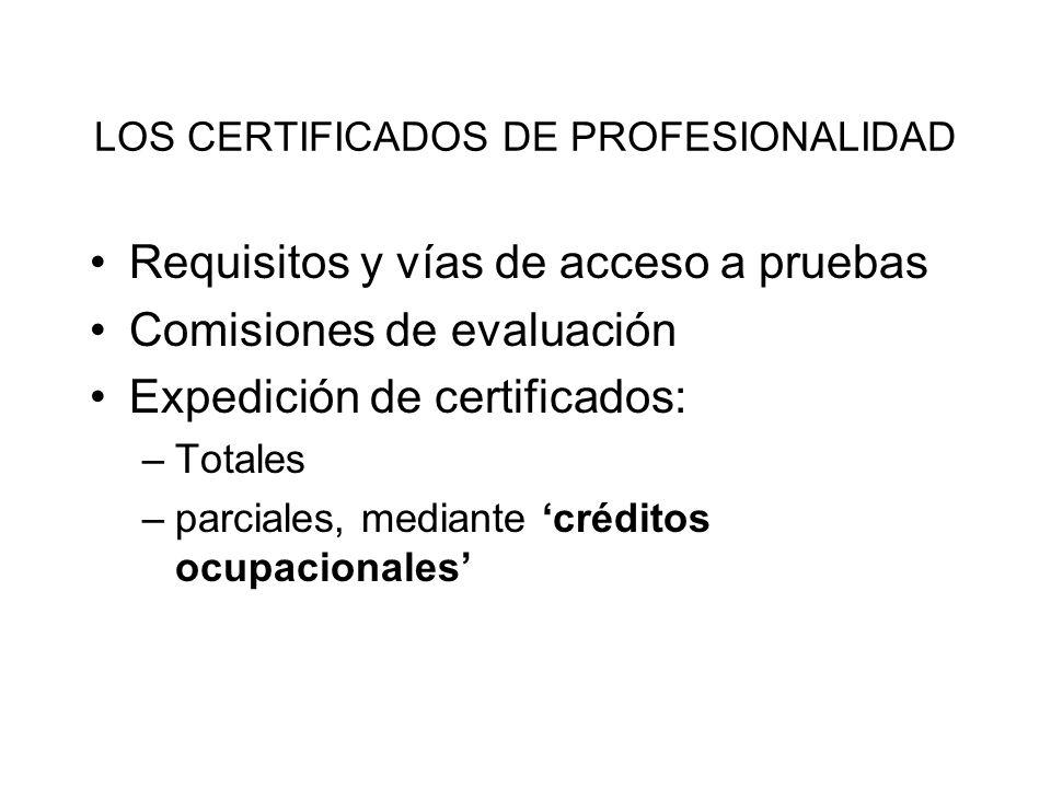 LOS CERTIFICADOS DE PROFESIONALIDAD Requisitos y vías de acceso a pruebas Comisiones de evaluación Expedición de certificados: –Totales –parciales, me