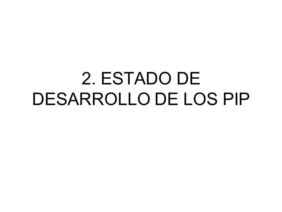 2. ESTADO DE DESARROLLO DE LOS PIP
