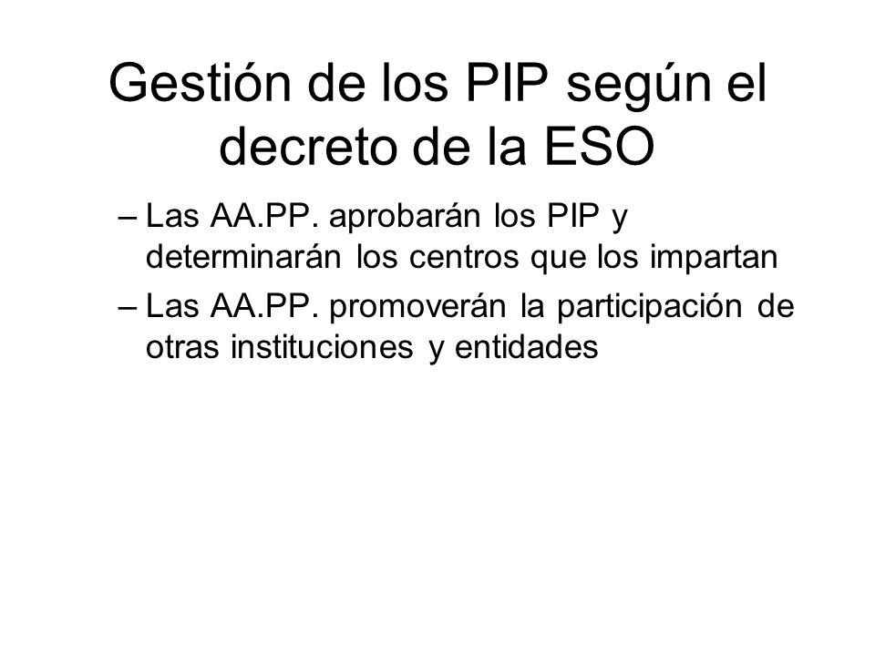 Gestión de los PIP según el decreto de la ESO –Las AA.PP. aprobarán los PIP y determinarán los centros que los impartan –Las AA.PP. promoverán la part