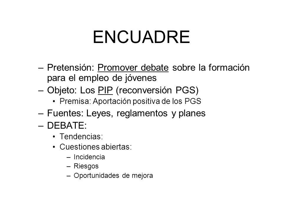 ENCUADRE –Pretensión: Promover debate sobre la formación para el empleo de jóvenes –Objeto: Los PIP (reconversión PGS) Premisa: Aportación positiva de