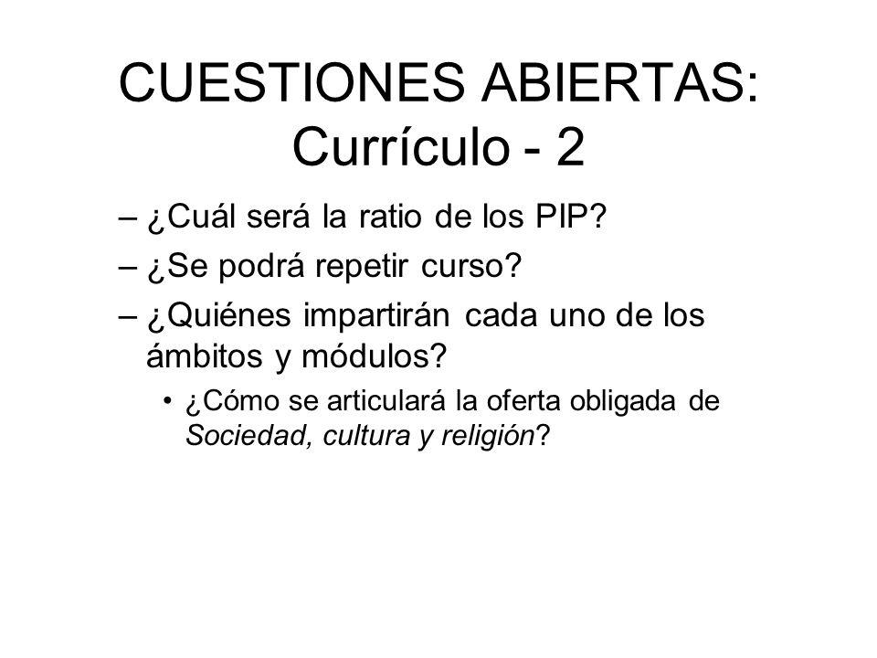 CUESTIONES ABIERTAS: Currículo - 2 –¿Cuál será la ratio de los PIP? –¿Se podrá repetir curso? –¿Quiénes impartirán cada uno de los ámbitos y módulos?