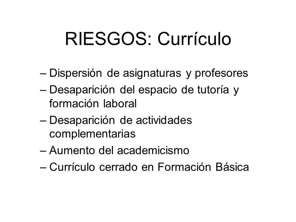 RIESGOS: Currículo –Dispersión de asignaturas y profesores –Desaparición del espacio de tutoría y formación laboral –Desaparición de actividades compl