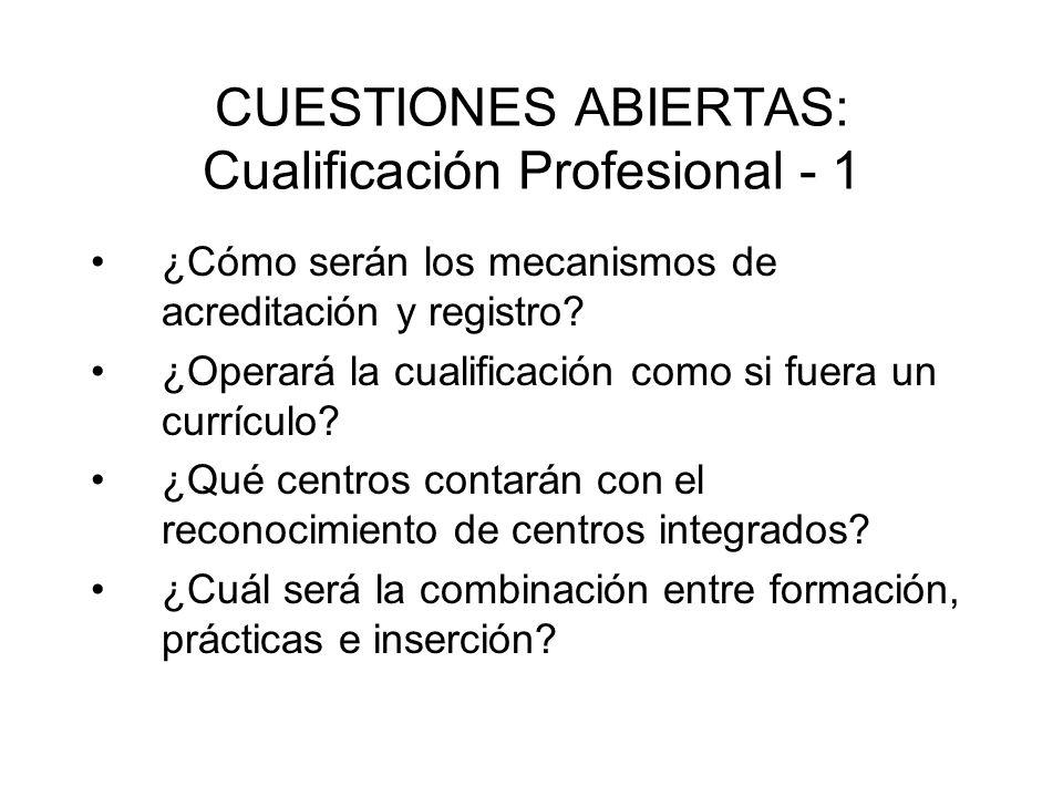 CUESTIONES ABIERTAS: Cualificación Profesional - 1 ¿Cómo serán los mecanismos de acreditación y registro? ¿Operará la cualificación como si fuera un c