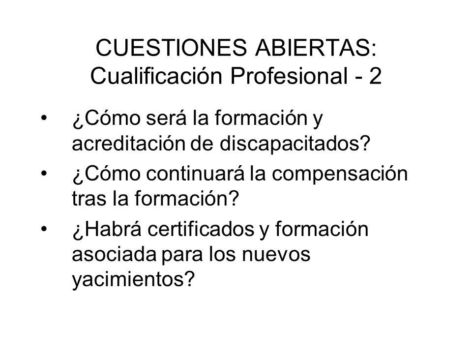 CUESTIONES ABIERTAS: Cualificación Profesional - 2 ¿Cómo será la formación y acreditación de discapacitados? ¿Cómo continuará la compensación tras la