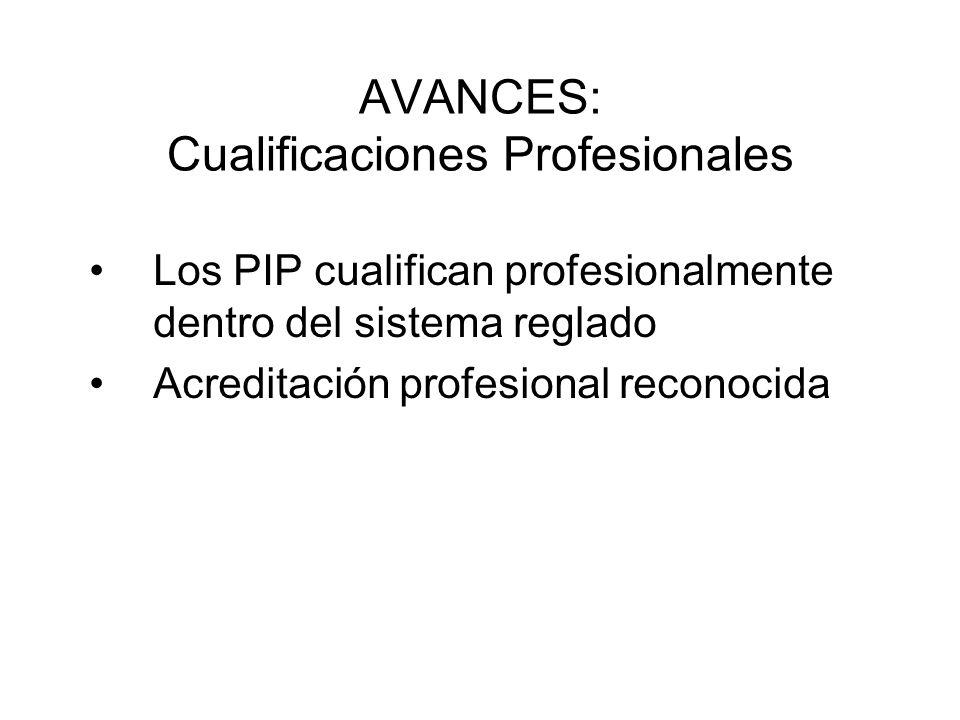 AVANCES: Cualificaciones Profesionales Los PIP cualifican profesionalmente dentro del sistema reglado Acreditación profesional reconocida