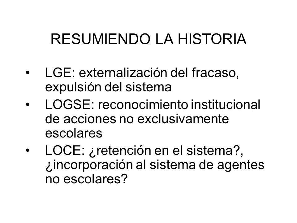 RESUMIENDO LA HISTORIA LGE: externalización del fracaso, expulsión del sistema LOGSE: reconocimiento institucional de acciones no exclusivamente escol