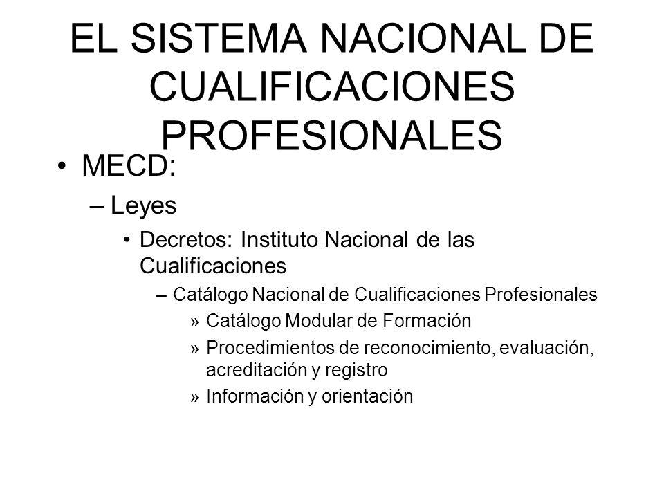 EL SISTEMA NACIONAL DE CUALIFICACIONES PROFESIONALES MECD: –Leyes Decretos: Instituto Nacional de las Cualificaciones –Catálogo Nacional de Cualificac