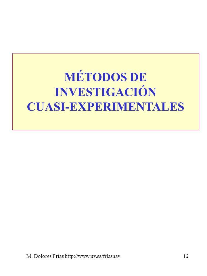M. Dolores Frías http://www.uv.es/friasnav12 MÉTODOS DE INVESTIGACIÓN CUASI-EXPERIMENTALES