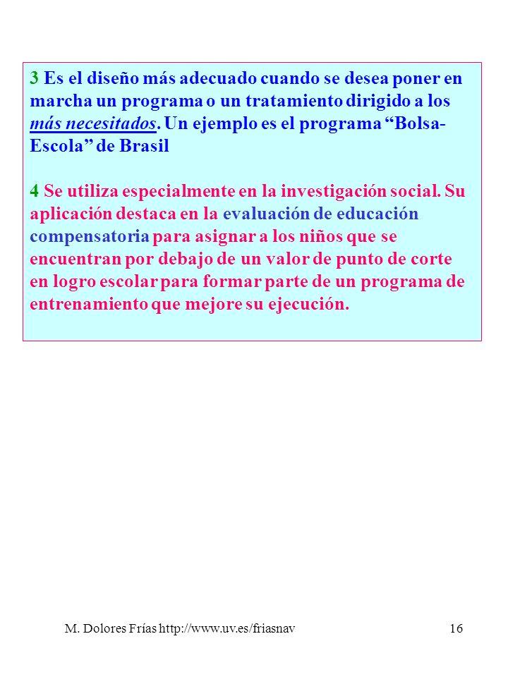 M. Dolores Frías http://www.uv.es/friasnav16 3 Es el diseño más adecuado cuando se desea poner en marcha un programa o un tratamiento dirigido a los m