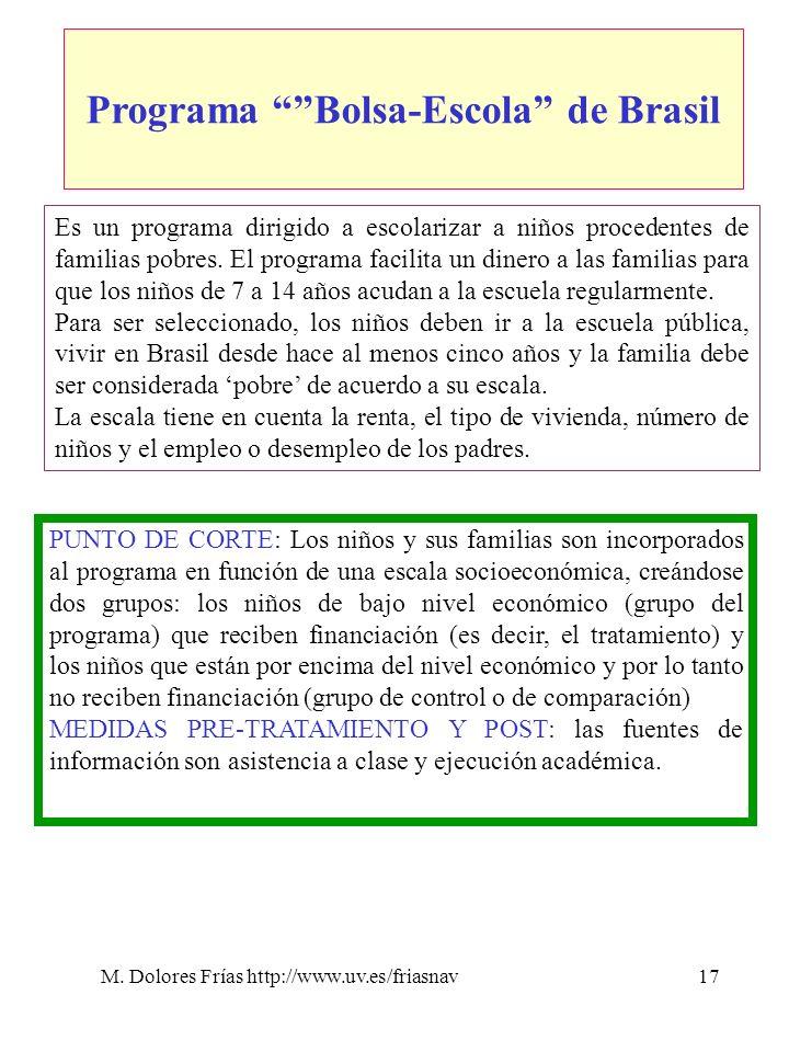 M. Dolores Frías http://www.uv.es/friasnav17 Programa Bolsa-Escola de Brasil Es un programa dirigido a escolarizar a niños procedentes de familias pob