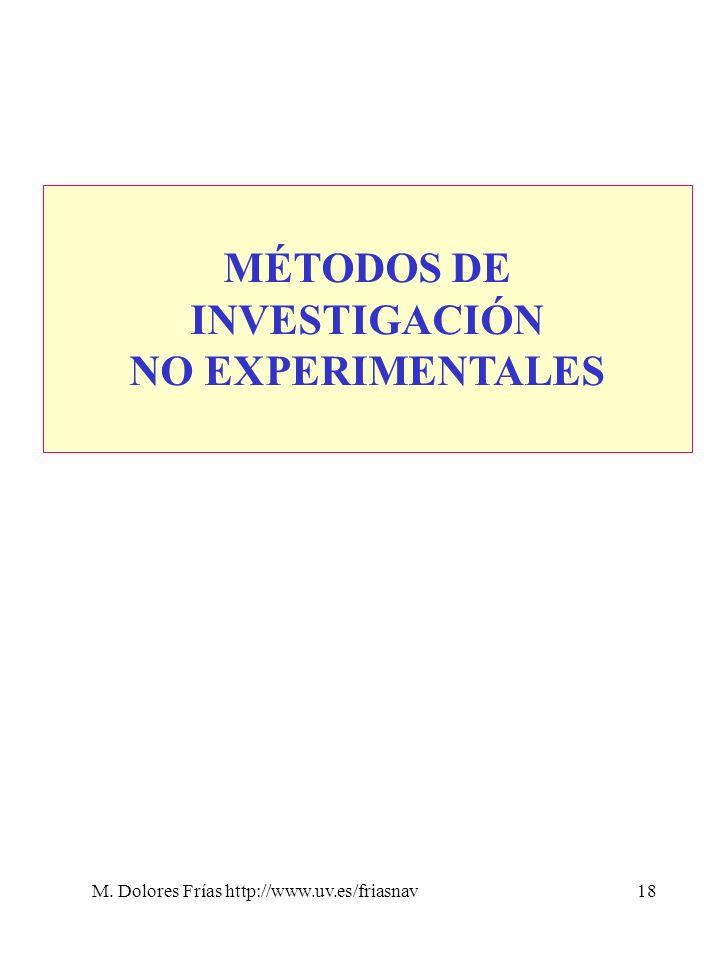 M. Dolores Frías http://www.uv.es/friasnav18 MÉTODOS DE INVESTIGACIÓN NO EXPERIMENTALES