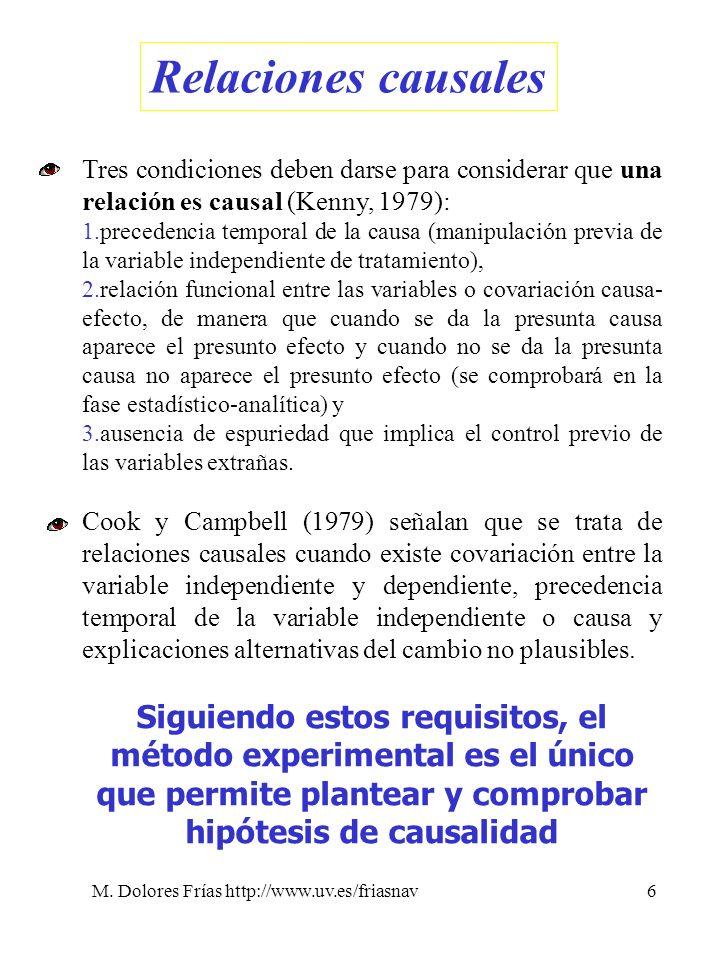 M. Dolores Frías http://www.uv.es/friasnav6 Relaciones causales Tres condiciones deben darse para considerar que una relación es causal (Kenny, 1979):
