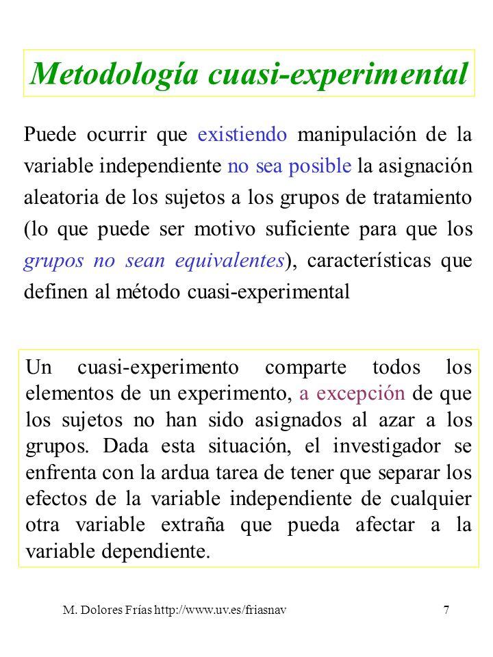 M. Dolores Frías http://www.uv.es/friasnav7 Metodología cuasi-experimental Puede ocurrir que existiendo manipulación de la variable independiente no s