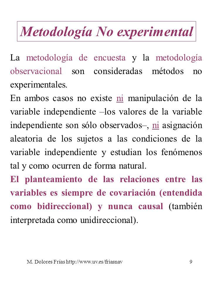 M. Dolores Frías http://www.uv.es/friasnav9 Metodología No experimental La metodología de encuesta y la metodología observacional son consideradas mét