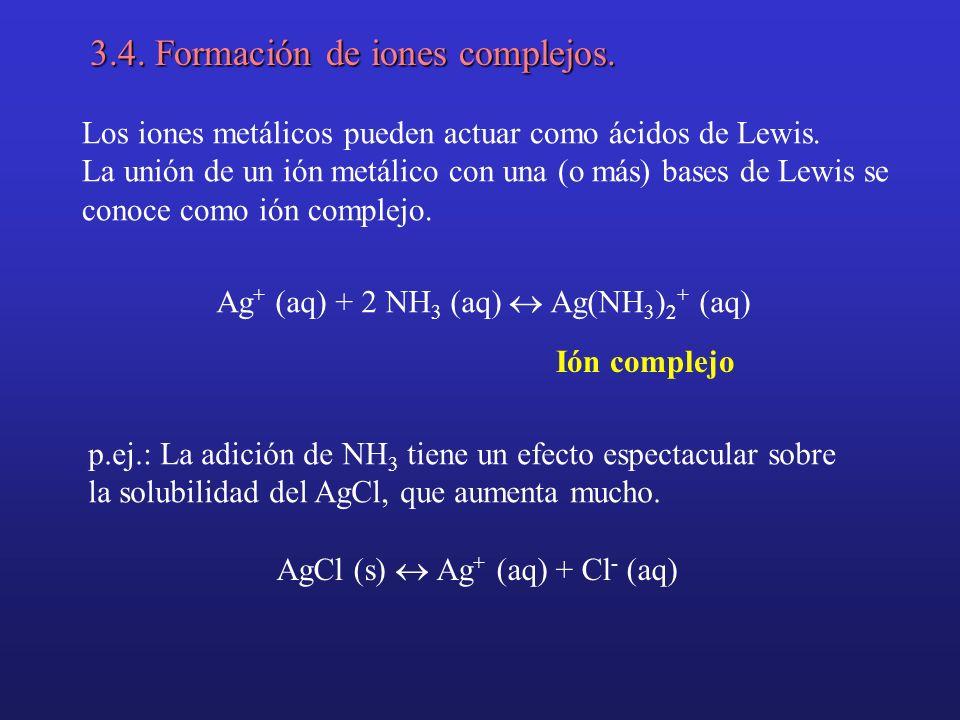 3.4. Formación de iones complejos. Los iones metálicos pueden actuar como ácidos de Lewis. La unión de un ión metálico con una (o más) bases de Lewis