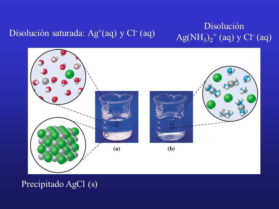 Precipitado AgCl (s) Disolución saturada: Ag + (aq) y Cl - (aq) Disolución Ag(NH 3 ) 2 + (aq) y Cl - (aq)